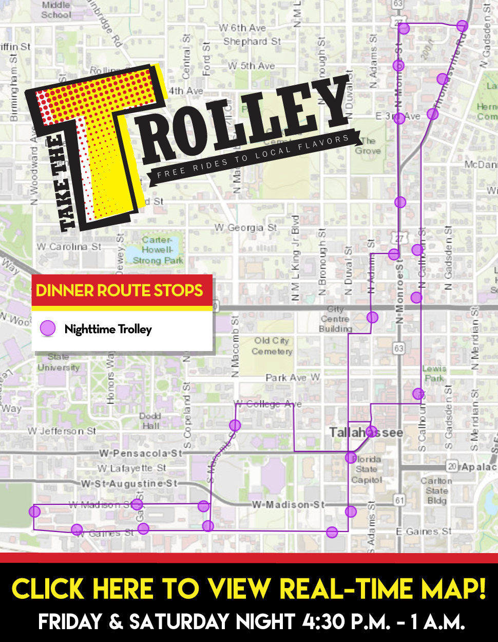 Trolley Dinner Route Map