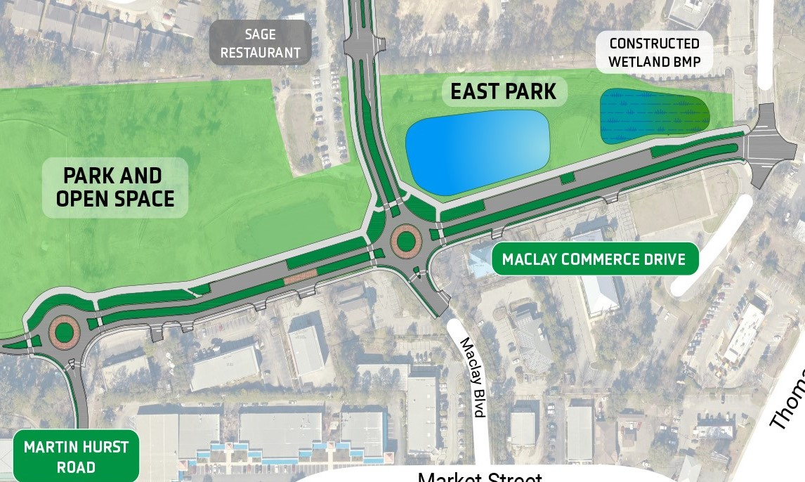 diagram of proposed roadway improvements on Meclay Commons area