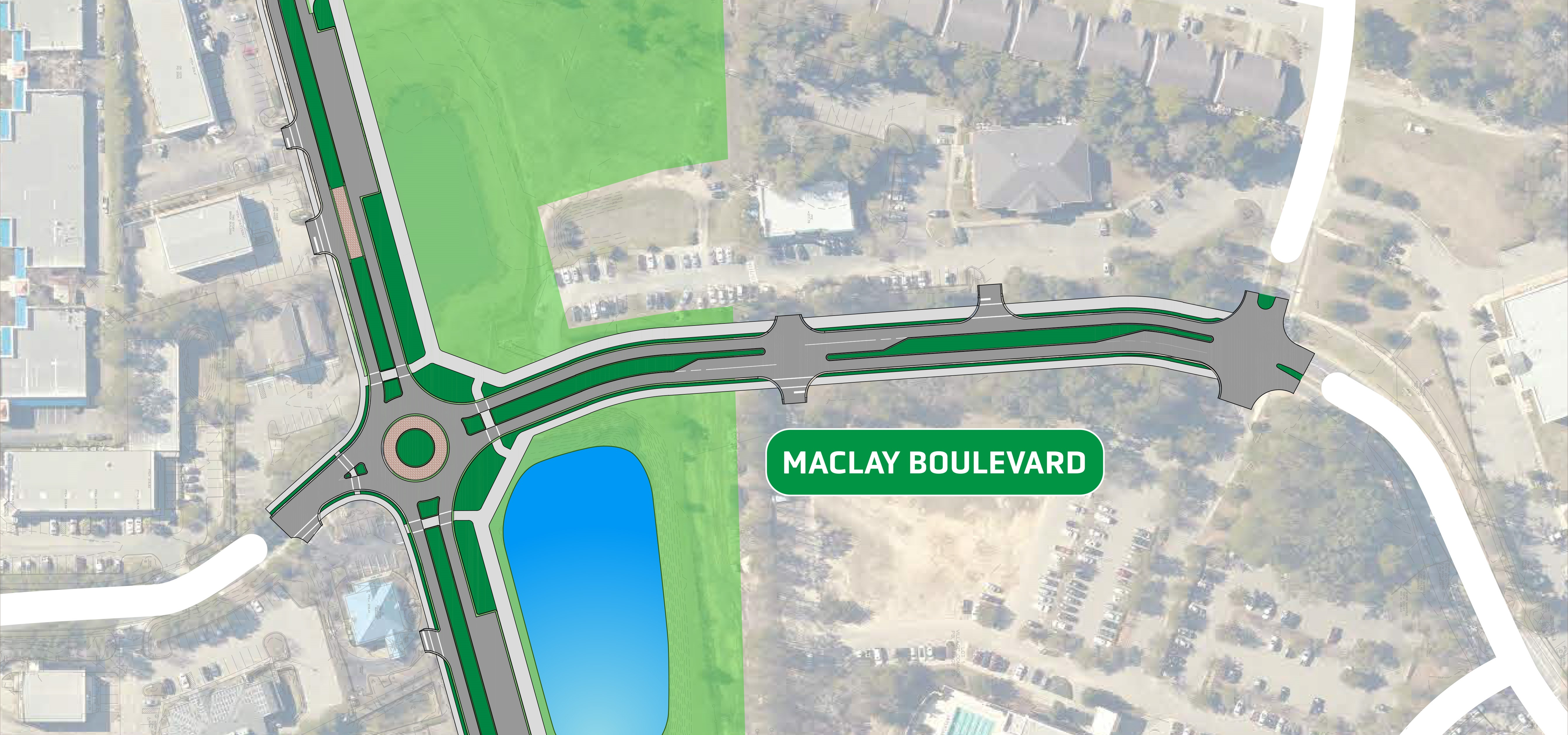 diagram of proposed roadway improvements on Maclay Boulevard
