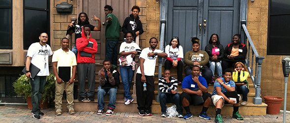 A group of teens at the Palmer Monroe center trying their hardest to look really cool