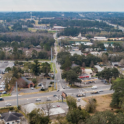 An aerial image of the intersection of Mahan Drive and Weems Road.