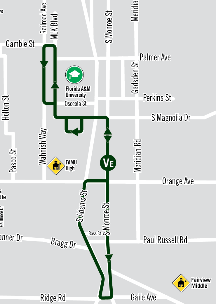 FAMU Venom Express Route Map