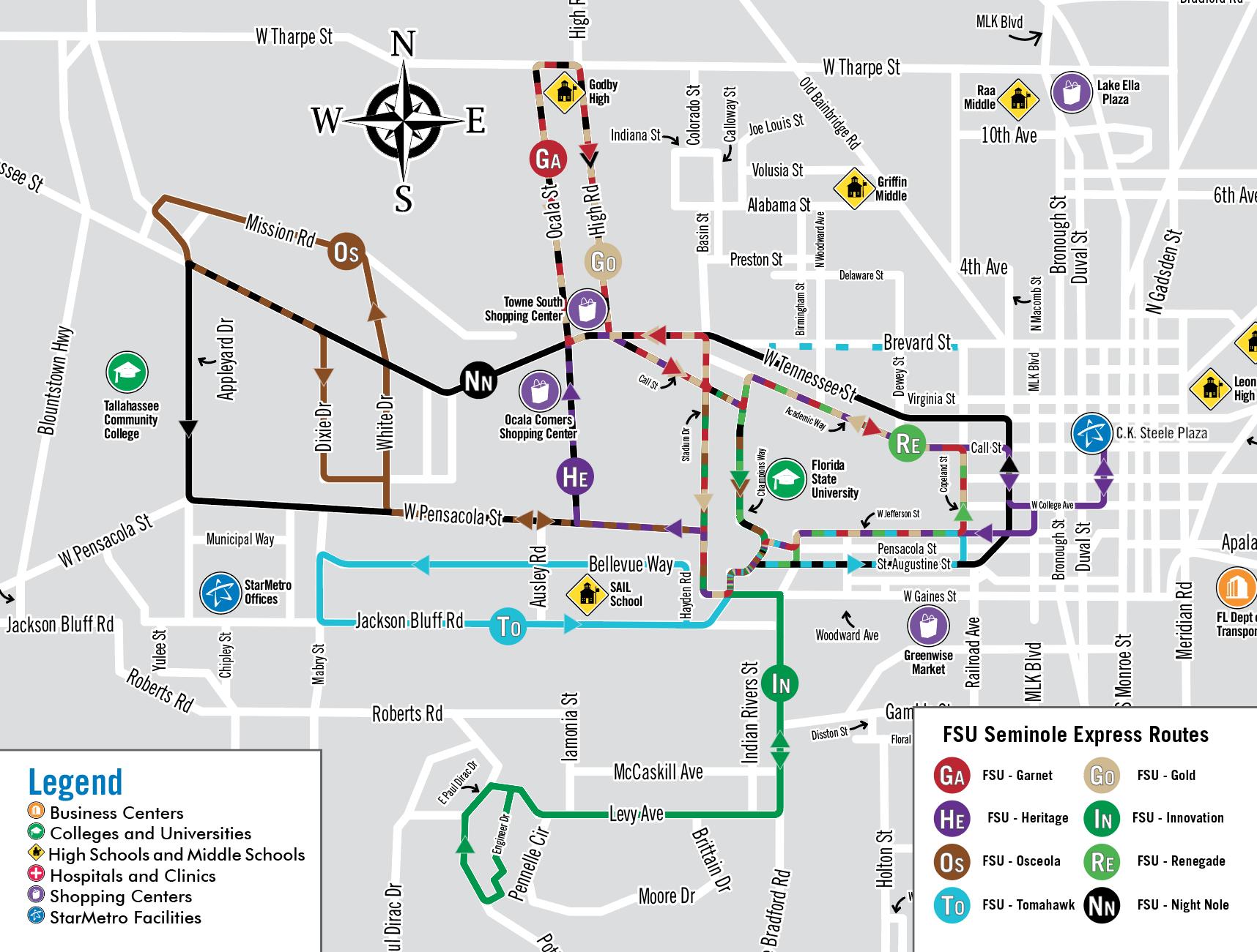 Fsu Seminole Express Routes Starmetro