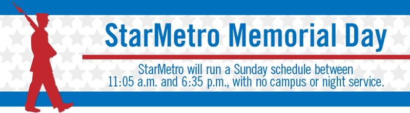 StarMetro Memorial Day Hours - Click to learn more