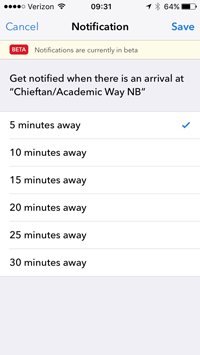 TransLoc app screenshot showing notification setup when a bus arrives at a chosen stop location
